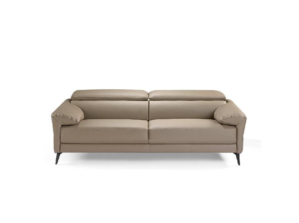 Sofá 3 plazas tapizado en piel con patas de acero inoxidable