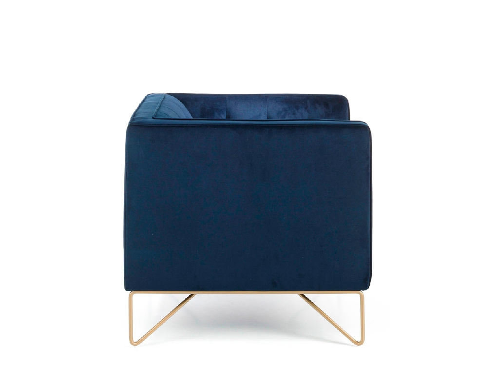 Armchair upholstered in velvet and golden steel legs