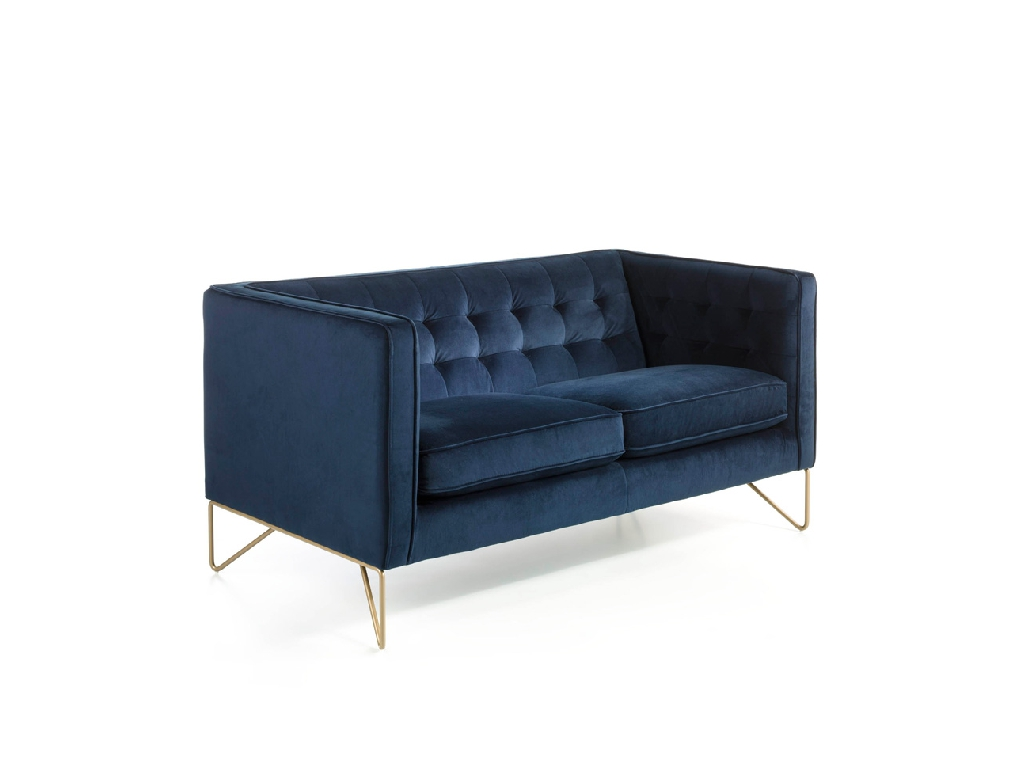 2 seat sofa with stainless steel legs chromed in gold
