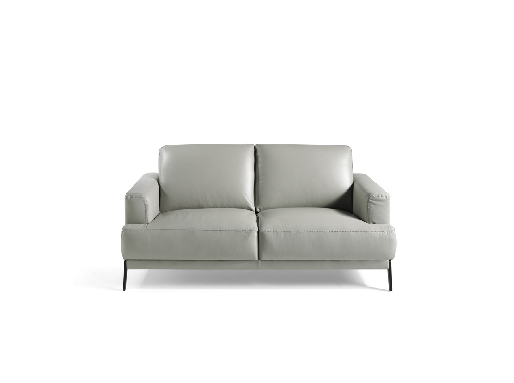 2-seat sofa upholstered in 2mm-thick leather with stainless steel legs