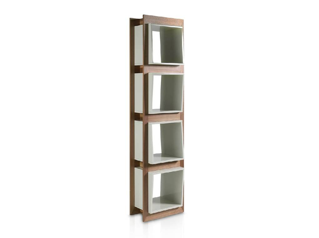 Bookshelves in walnut veneered wood and laquered Mdf drawers.