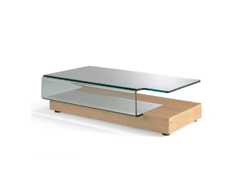 Mesa de centro fabricada en chapa de roble con cristal curvado