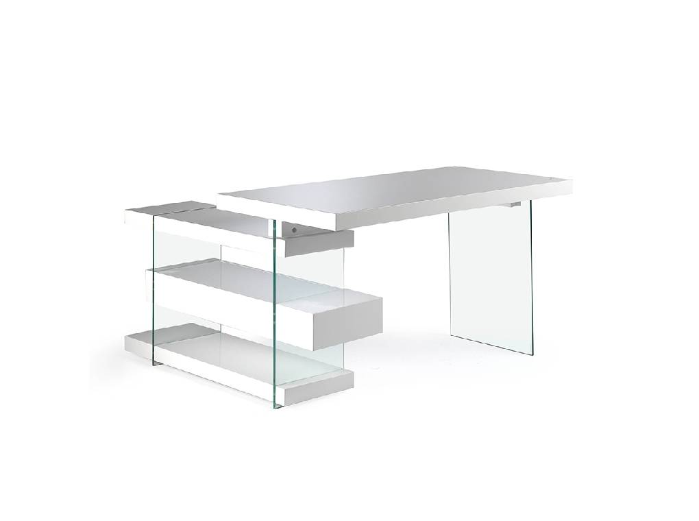 Office desk in MD lacquered with tempered glass sides and side drawer