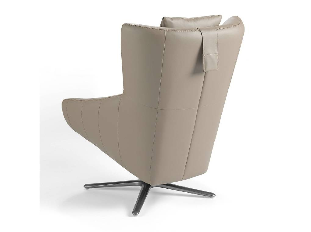 Swivel armchair with leather upholstered cushion