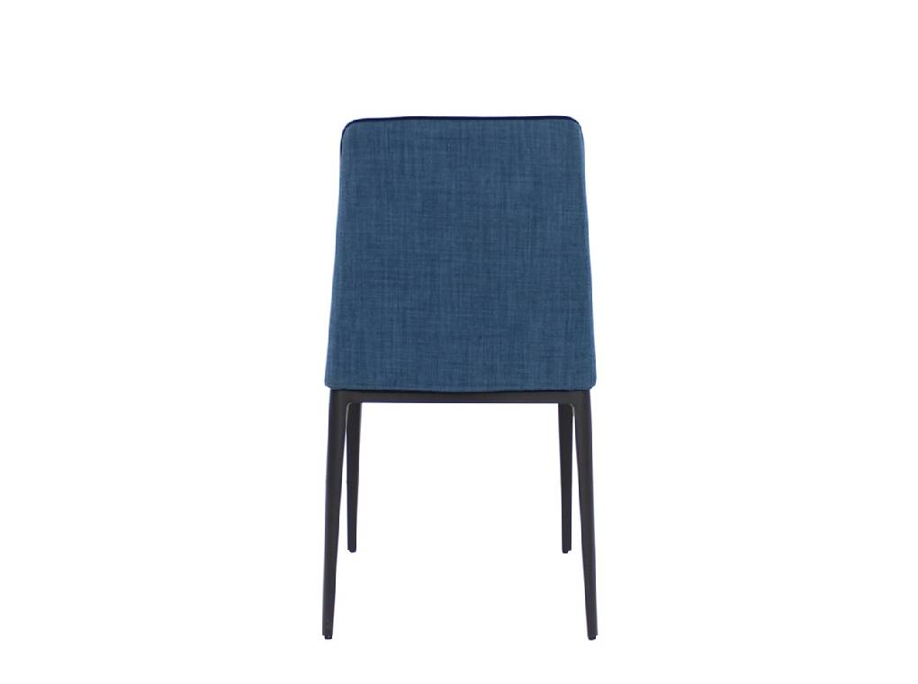 Chair upholstered in fabric and trim with black steel frame