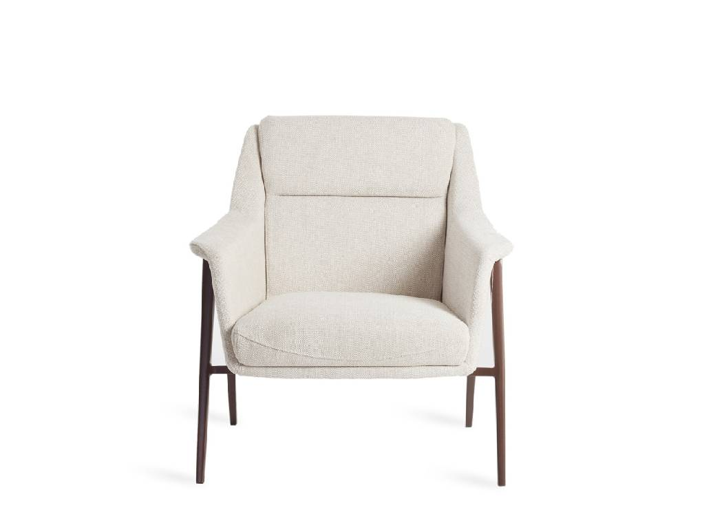 Armchair upholstered in fabric and copper steel legs