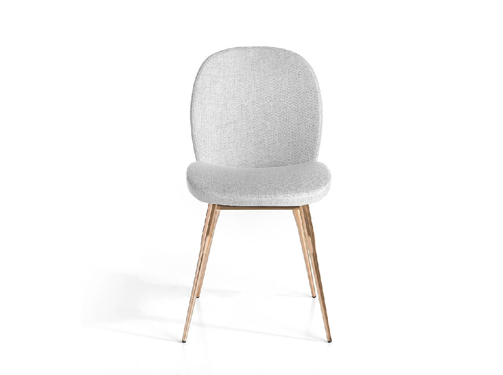 Chair upholstered in fabric with rose gold steel legs