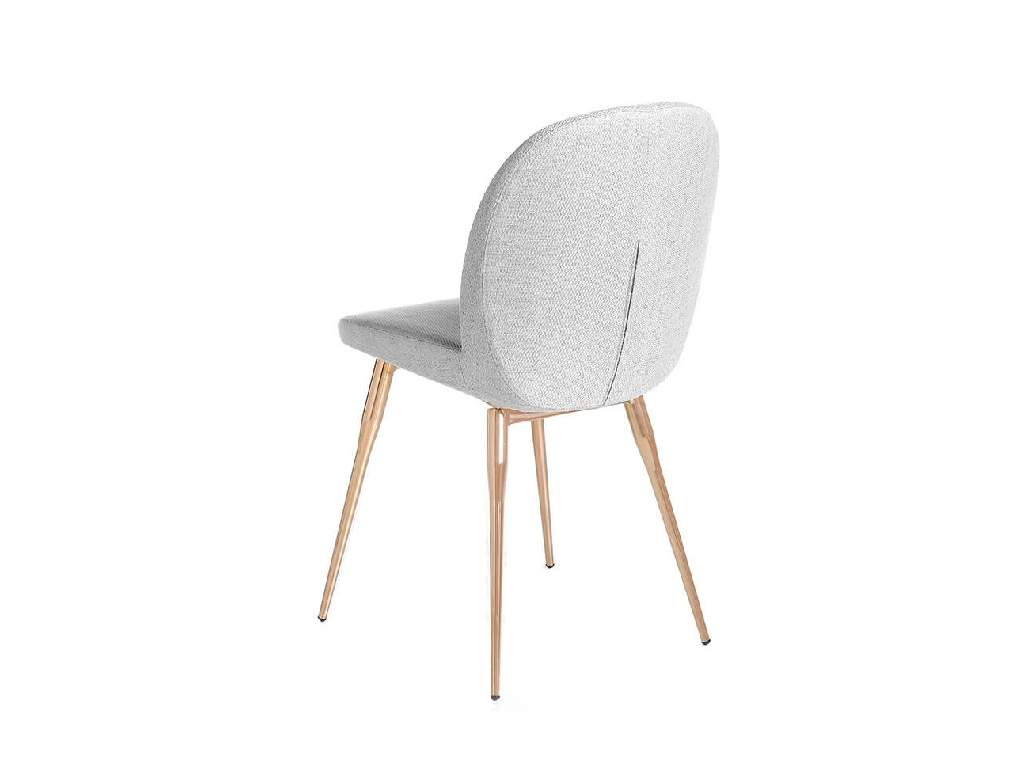 Chair upholstered in fabric and stainless steel legs with bronze finish