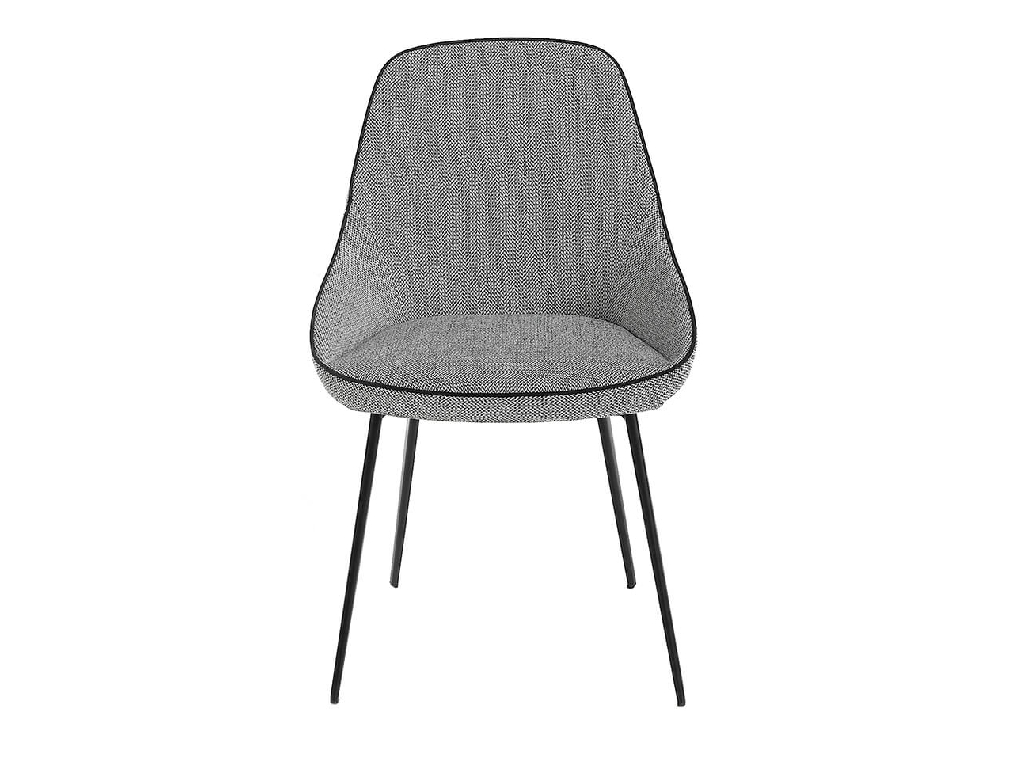 Chair upholstered in fabric with black steel structure