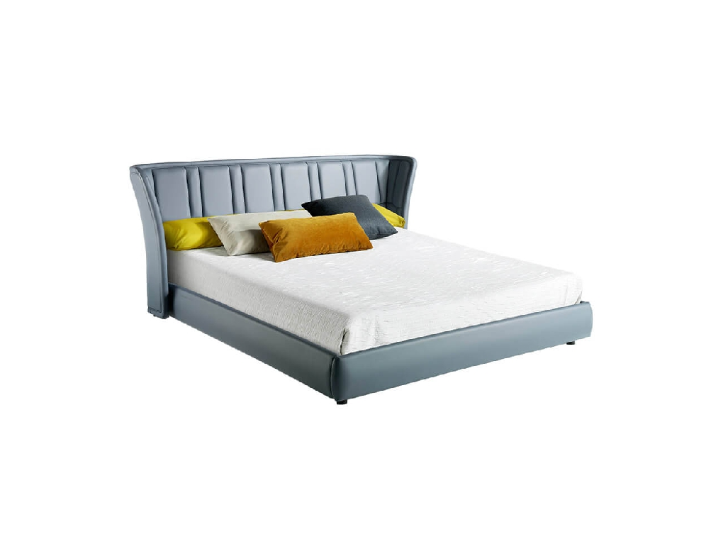 King size bed upholstered in grey leatherette