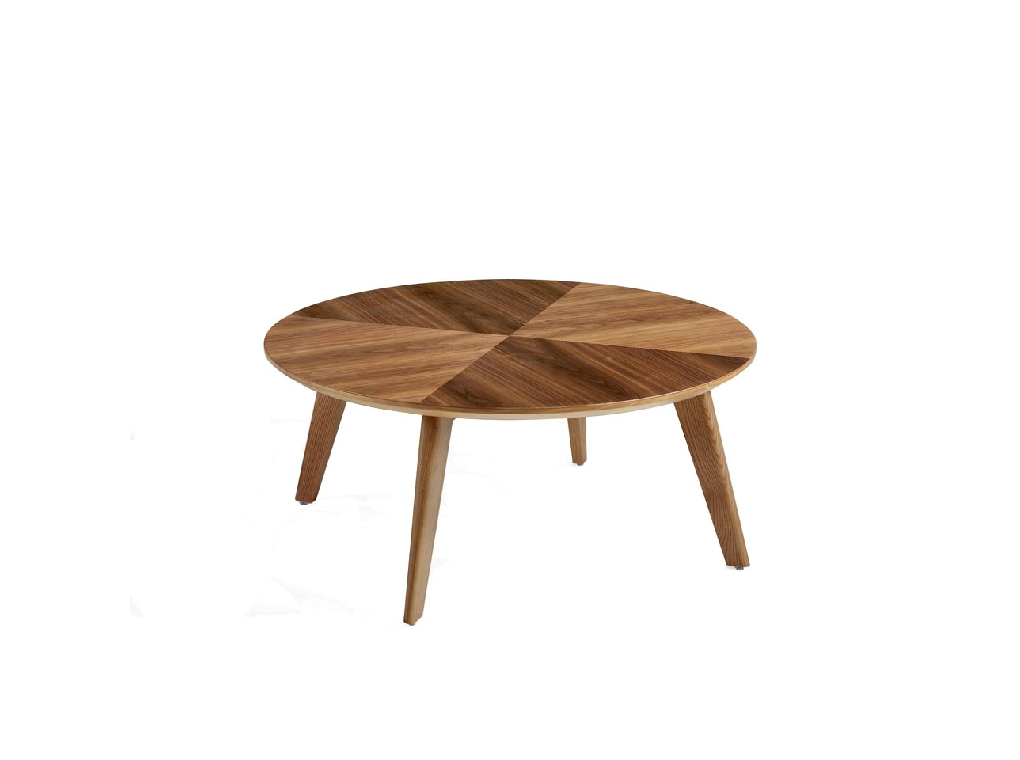 Square coffee table made of solid wood with walnut veneer
