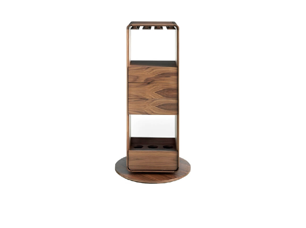 Rotating Bar furniture in natural walnut veneer