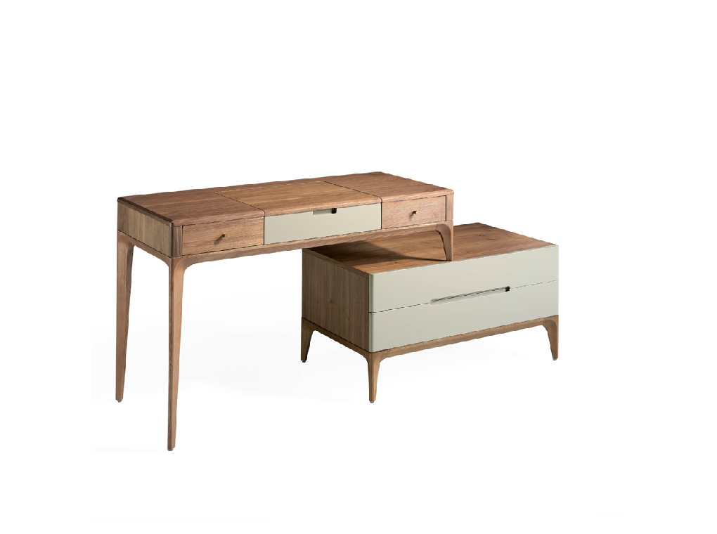Vanity table with drawers on individual chest of drawers