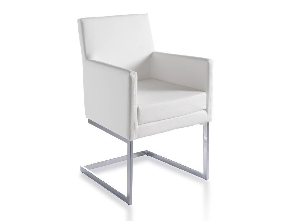 Armchair upholstered in leatherette with chromed steel frame