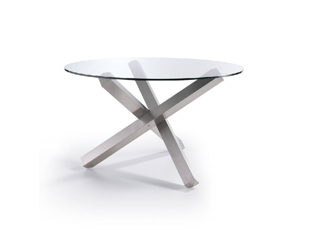 Dining table with a polished stainless steel base angel for Angel cerda