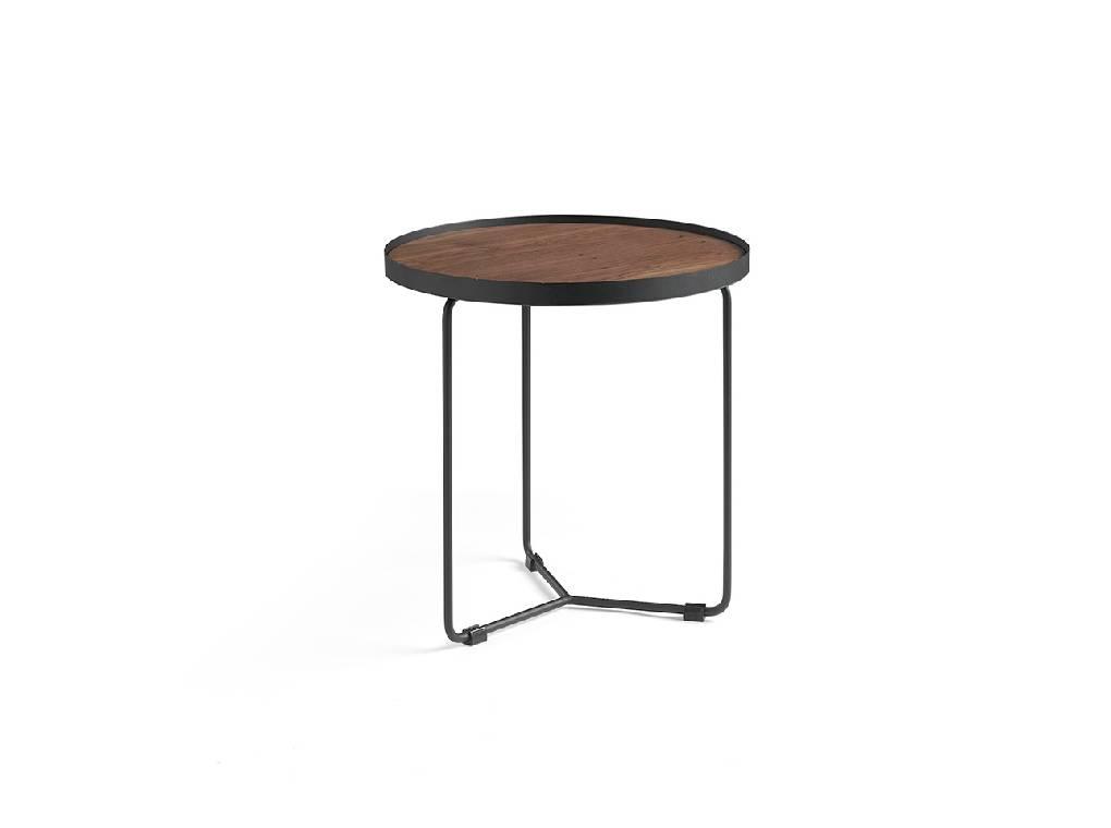 Mesa de rincón con estructura metálica y tapa de Nogal