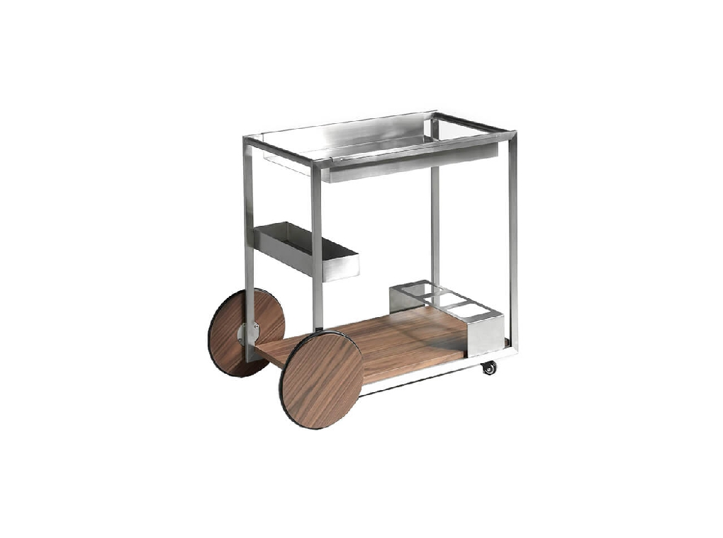 Minibar cart with chrome plated steel polished structure