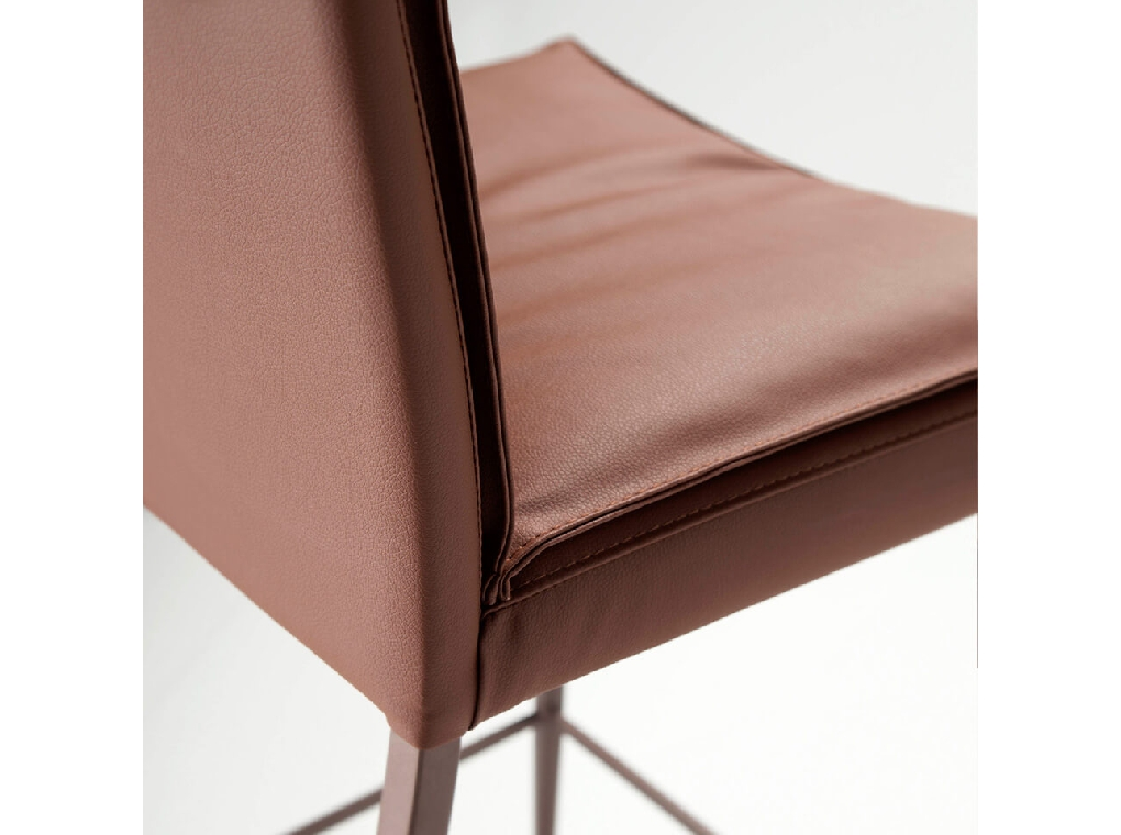 Stool upholstered in leatherette with brown steel frame