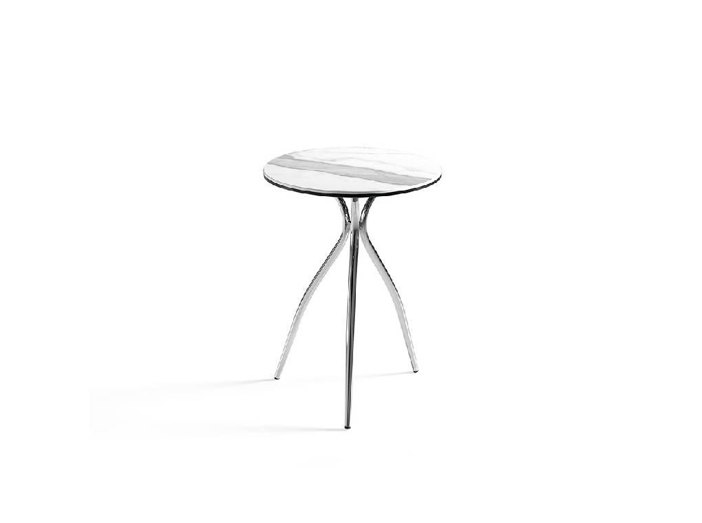 Mesa de rincón con tapa de mármol porcelánico blanco y base de acero inoxidable