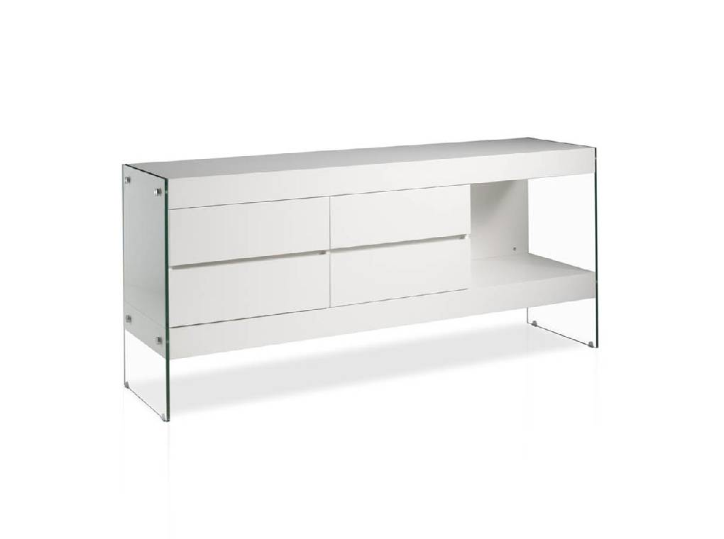 Lacquered Mdf sideboard with tempered glass sides