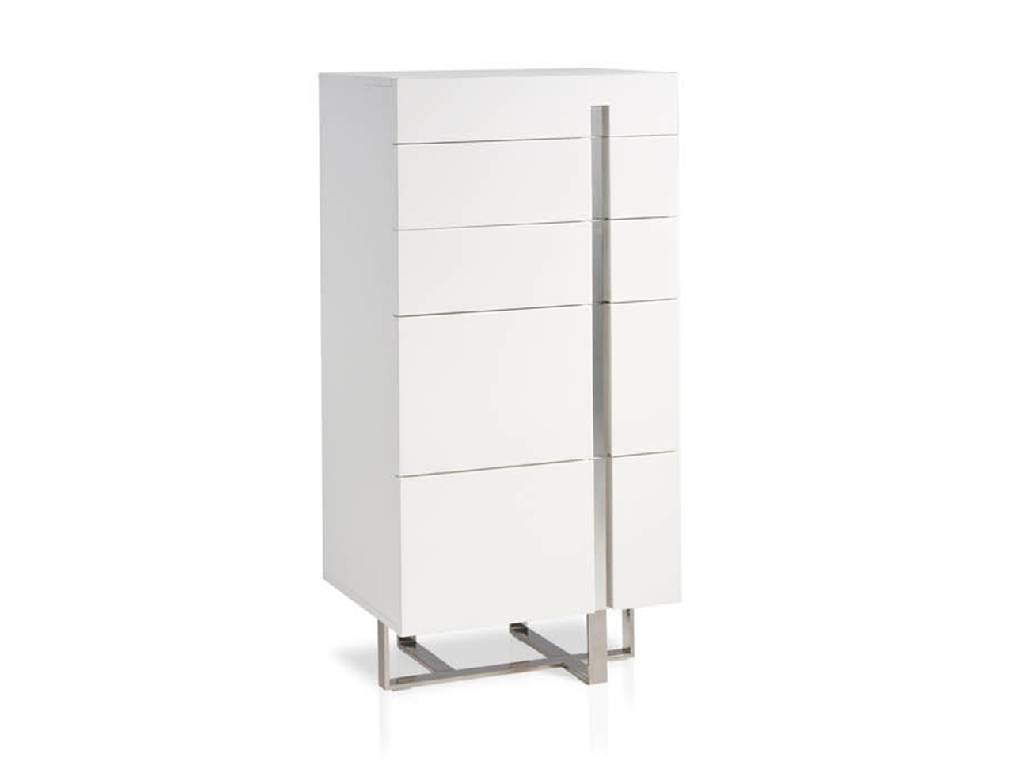 Chest of drawers in lacquered Mdf with stainless steel frame.
