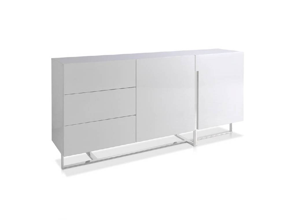 Lacquered Mdf sideboard with stainless steel frame