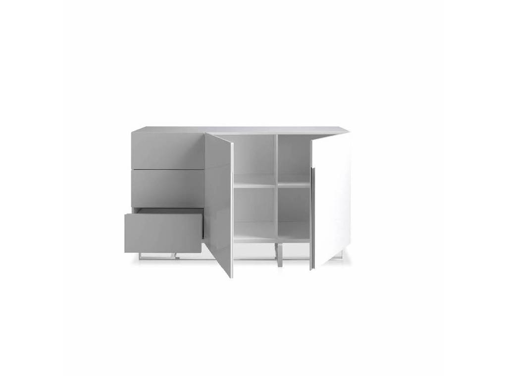 White wooden sideboard and chrome steel