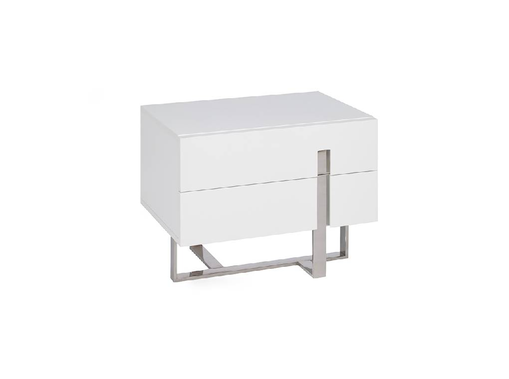 Night table in lacquered Mdf with stainless steel frame