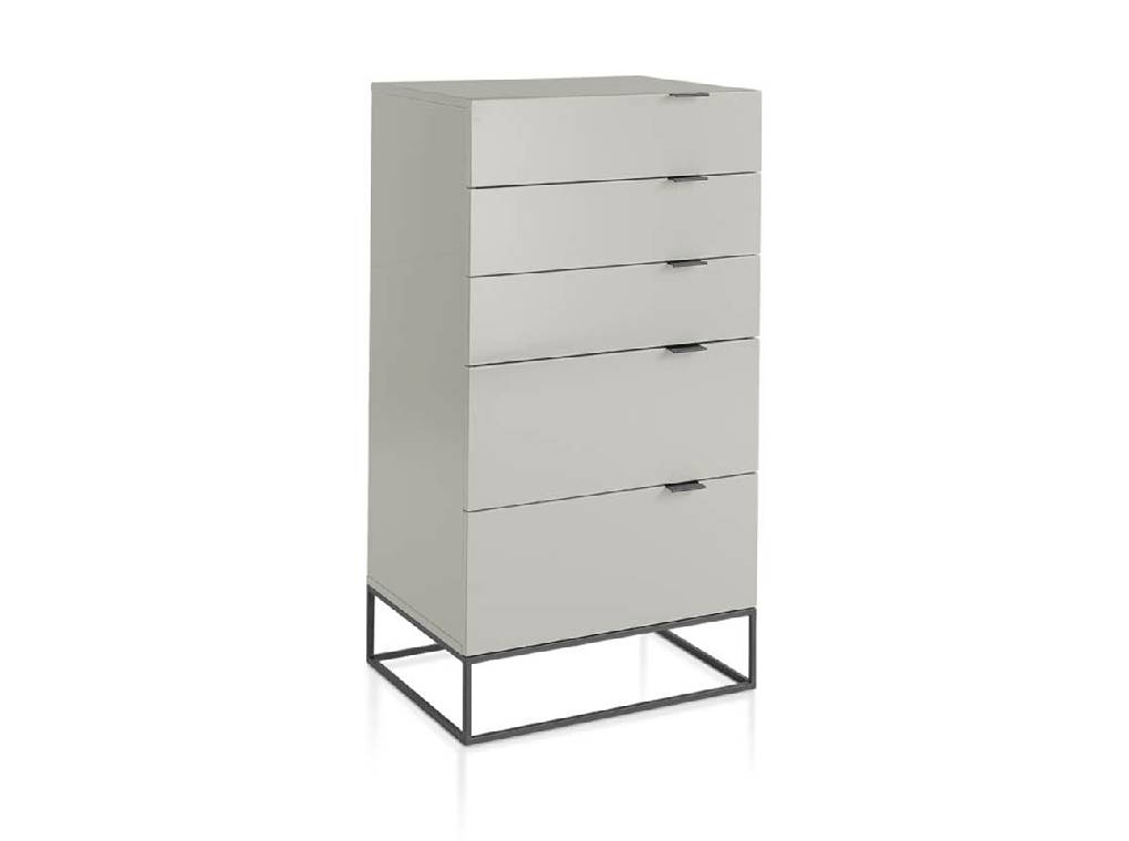 Chest of drawers in lacquered Mdf with black steel structure
