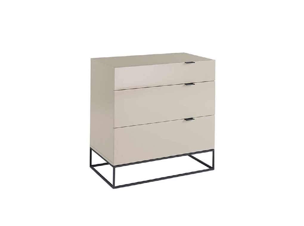 Pearl gray wooden chest and black steel