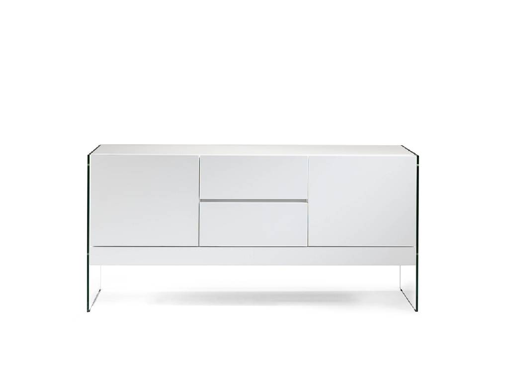Sideboard in lacquered MDF with tempered glass sides