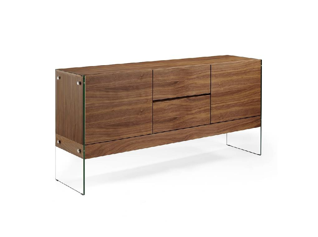 Sideboard with wooden plates in walnut with tempered glass sides