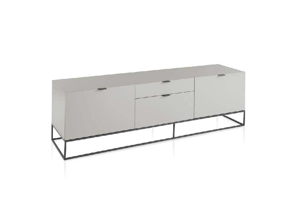 TV Unit in lacquered Mdf with black steel frame.