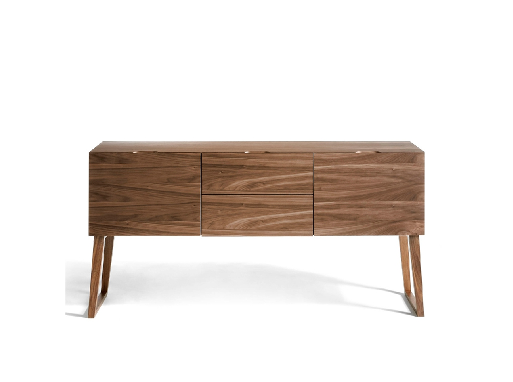 Sideboard with two doors and two drawers made of walnut-veneered wood