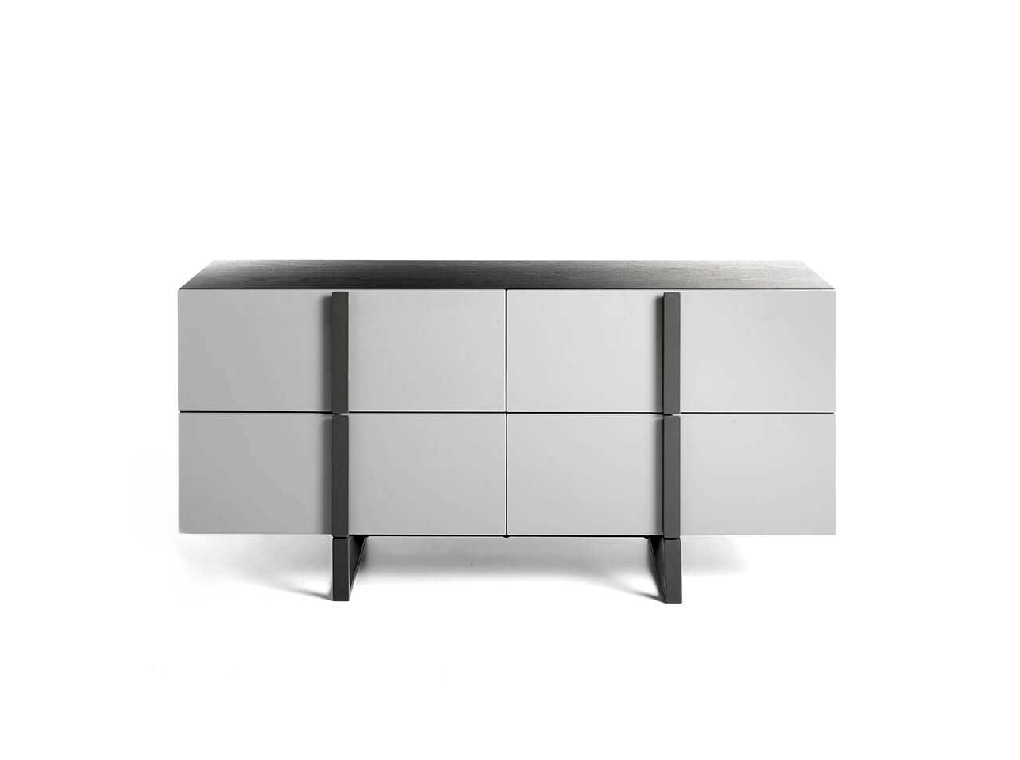 Four lacquered MDF drawers Sideboard  with black steel structure