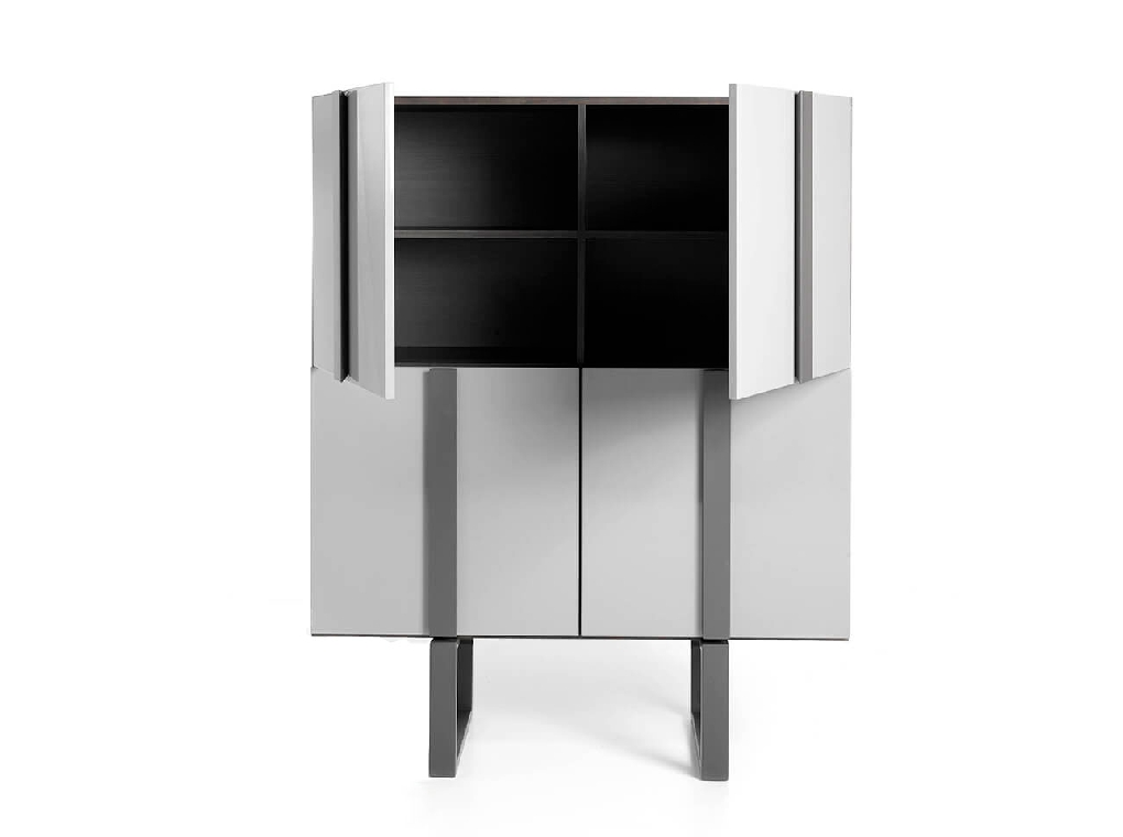 Sideboard sideboard in Tinto wood and dark gray steel
