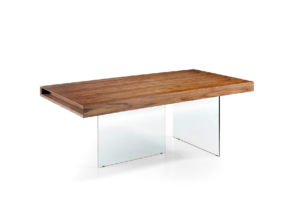 Dining table with walnut-veneered MDF top and tempered glass legs