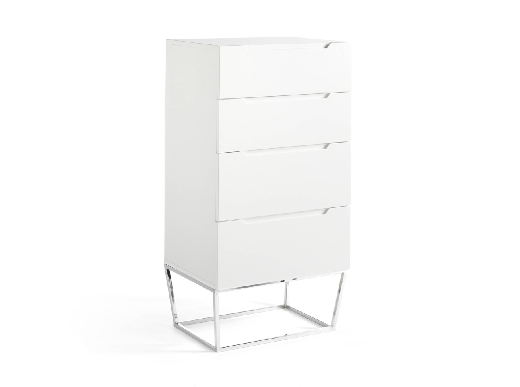 4 drawer chiffonier made of lacquered MDF with stainless steel chromed structure