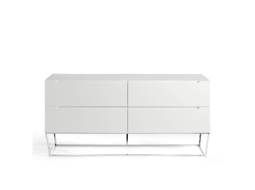 4 drawers sideboard made of lacquered MDF with stainless steel chromed legs