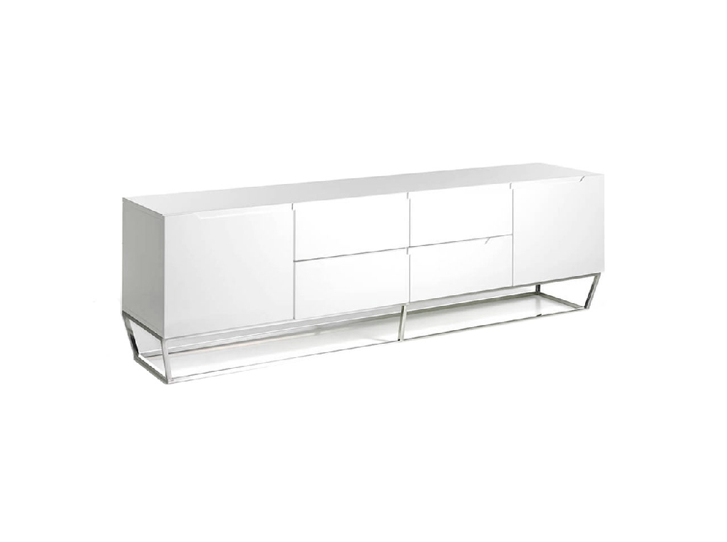 White wooden TV cabinet and chrome steel