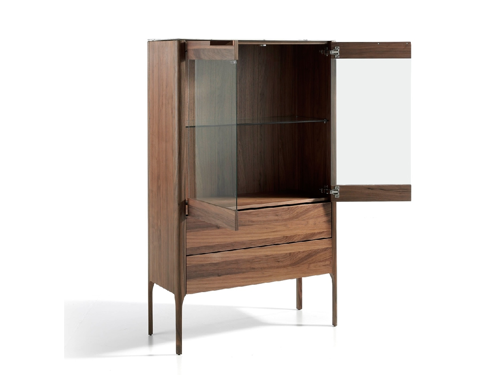 Sideboard with drawers and glass doors made of walnut-veneered wood