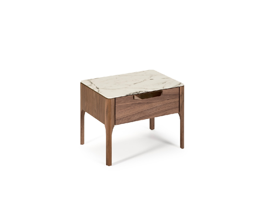 Bedside table with drawer made of walnut-veneered wood