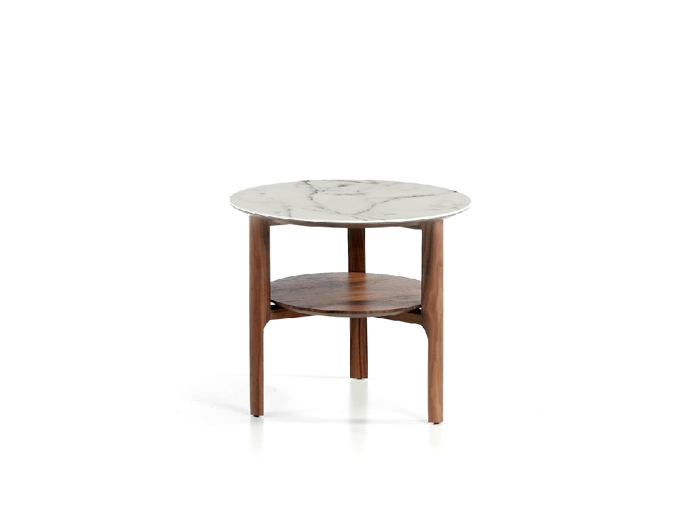 Corner coffee table made of walnut veneered wood with imitation marble glass top