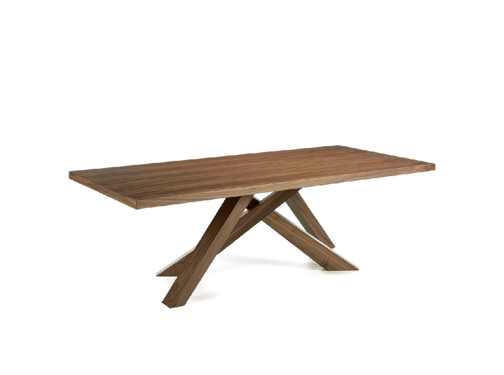 Solid wood dining table veneered in walnut