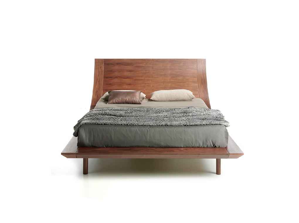 Wooden bed veneered in Nogal