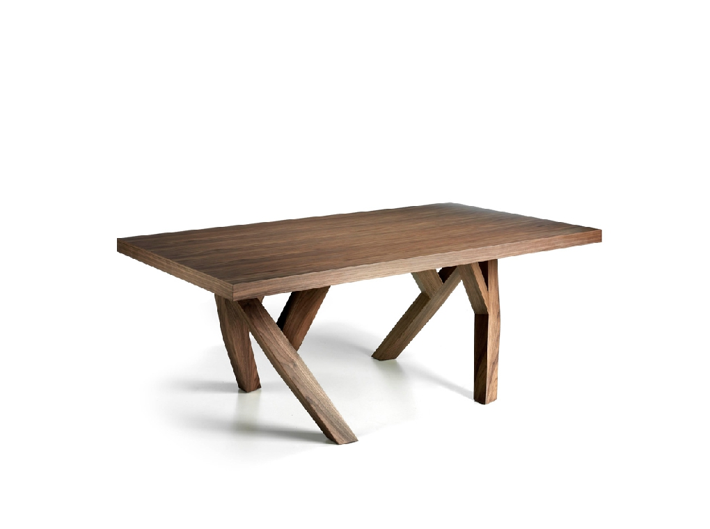 Rectangular solid wood dining table Walnut