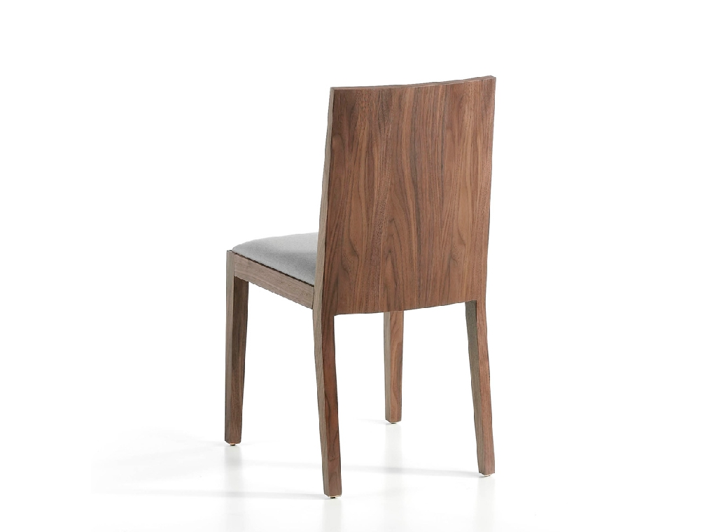 Upholstered chair in fabric in walnut veneered wood