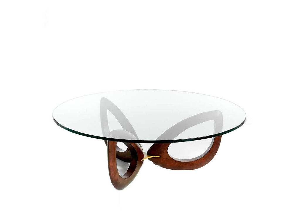 Coffee table made of solid wood with glass tabletop