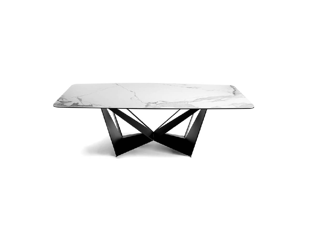 Porcelain and chrome steel dining table