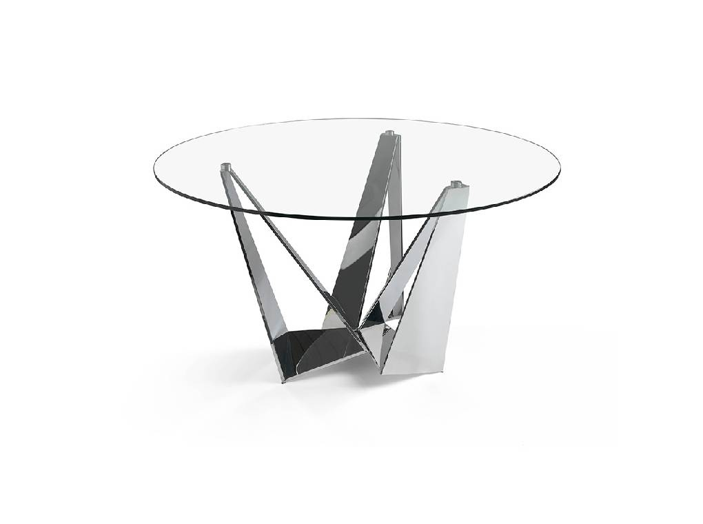 Stainless Steel dining table with tempered glass cover.